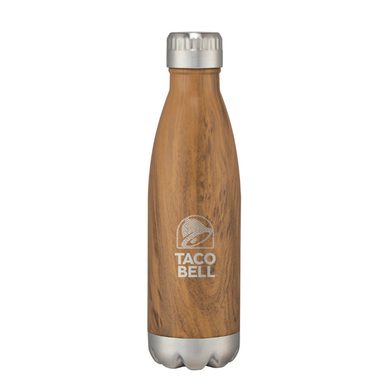 16 oz Stainless Steel/Wood Water Bottle
