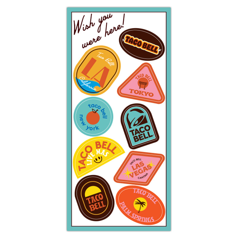 Taco Bell 'Wish You Were Here' Sticker Sheet