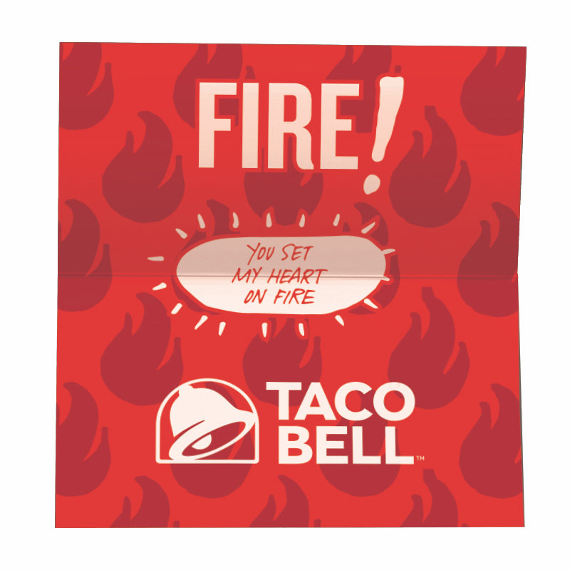 Taco Bell Fire Sauce Packet Valentine 10-Pack