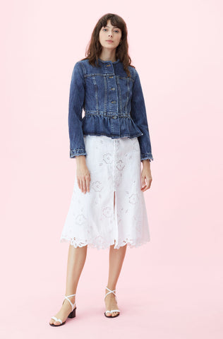 La Vie Denim Peplum Jacket in Coralie Wash