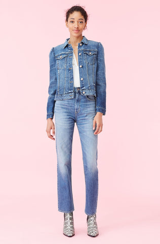 La Vie Stretch Denim Jacket in Rive Blue Wash