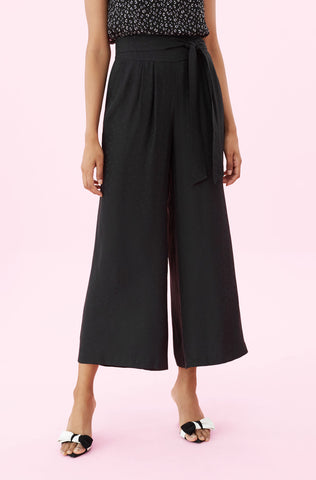 Heart Jacquard Silk Pant in Black