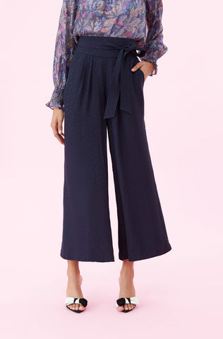 Heart Jacquard Silk Pant in Navy