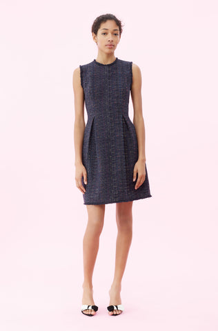 Rainbow Tweed Dress in Navy