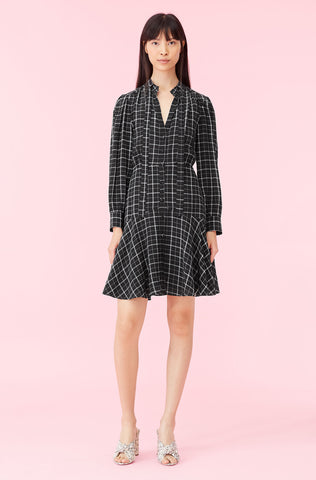 Plaid Print Silk Dress in Black Combo