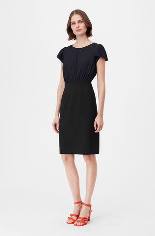 Tailored Clean Suiting & Silk Twill Dress in Navy/Black