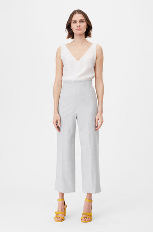 Tailored Clean Suiting Cropped Pant in Light Heather Grey