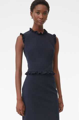 Tailored Ruffle Suiting Top in Navy