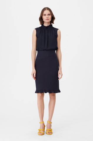 Tailored Stretch Modern Suiting Skirt in Navy