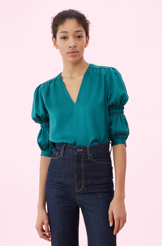 Hammered Silk V-Neck Top in Viridian