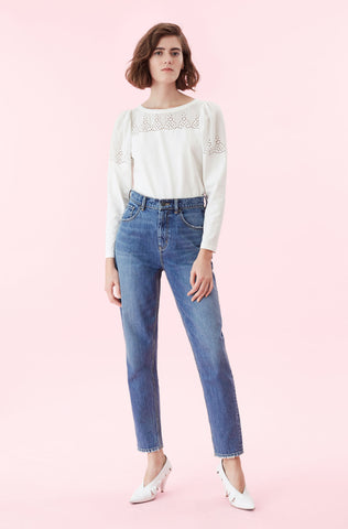 La Vie Embroidered Jersey Top in Milk