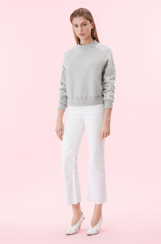 La Vie Eyelet Fleece Sweatshirt in Heather Grey