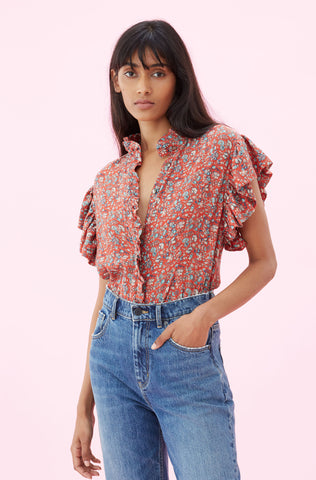 La Vie Gitane Floral Top in Poppy Combo