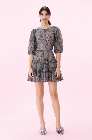Selene Paisley Voile Dress in Bleu Combo