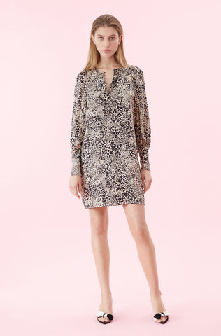 Hidden Leopard Jacquard Dress in Champagne Combo