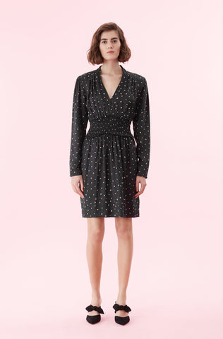 Painted Dot Jacquard Dress in Black Combo