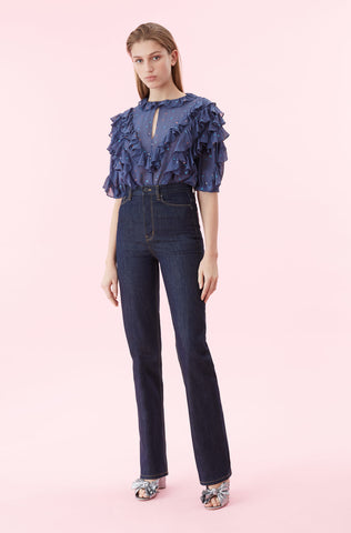 Glitter Gem Chiffon Ruffle Top in Ink Combo