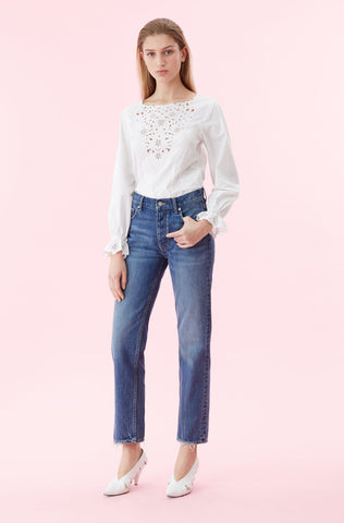 La Vie Embroidered Poplin Top in Milk