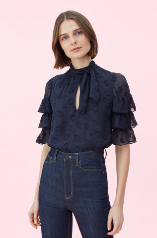 Tulip Clip Ruffle Top in Navy