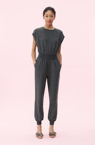 La Vie French Terry Jumpsuit in Dark Charcoal Heather