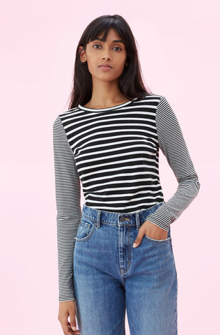 La Vie Yarn Dyed Striped Jersey Tee in Black Combo