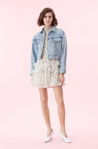 La Vie Embellished Denim Jacket in Mist Wash