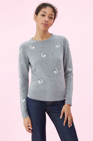 La Vie Butterfly Intarsia Pullover in Grey Combo