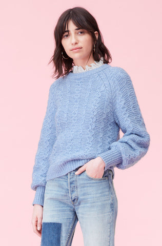 La Vie Cable Pullover in Misty Blue