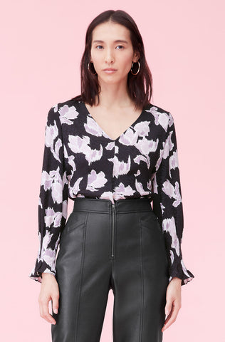 Ikat Blossom Silk Jacquard Top in Black Combo