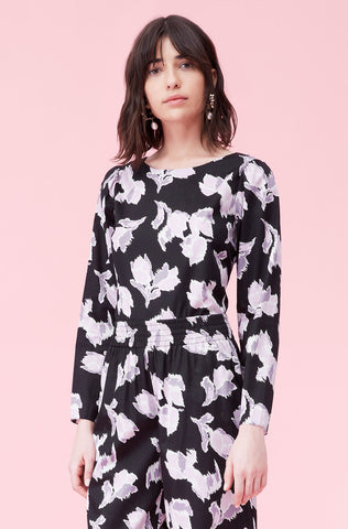 Ikat Blossom Cotton Top in Black Combo