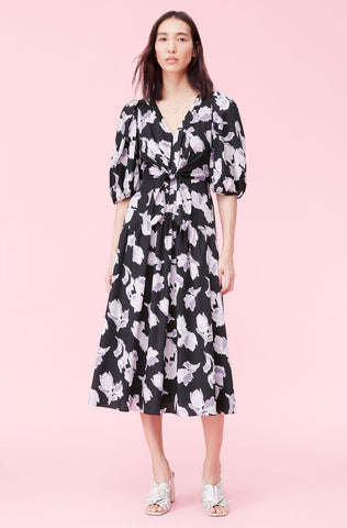 Ikat Blossom Cotton Dress in Black Combo