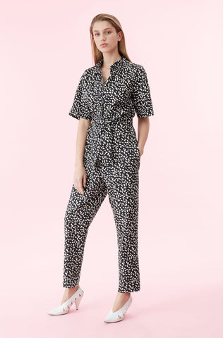 La Vie Le Jaguar Twill Jumpsuit in Black Combo