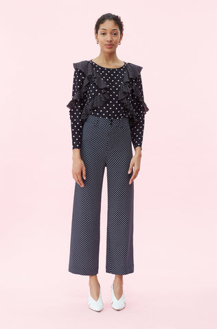 Dot Print Pant in Navy Combo