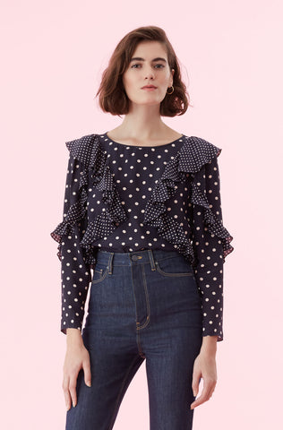 Dot Print Ruffle Top in Navy Combo