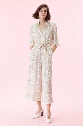 Vivianna Vine Jacquard Silk Jumpsuit in Cream Combo