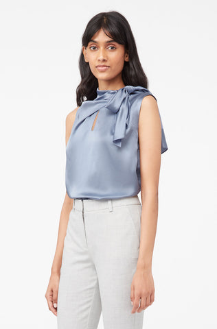 Tailored Silk Charmeuse Tie Neck Top in Breeze