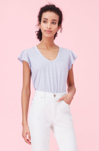 La Vie Washed Textured Jersey Tee in Freesia