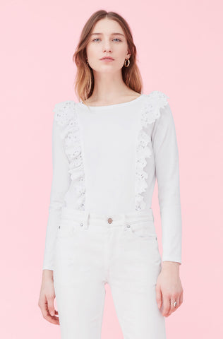 La Vie Embroidered Clean Jersey Top in Milk