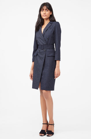 Tailored Pinstripe Blazer Dress in Navy
