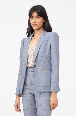 Tailored Windowpane Twill Jacket in Pacific Combo