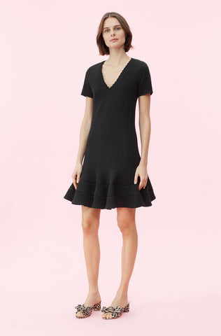 Stretch Texture V-Neck Dress in Black