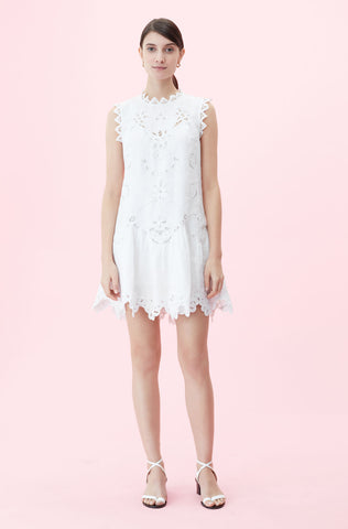 Terri Embroidered Dress in Milk