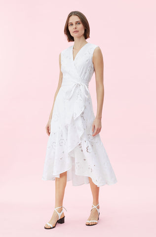 Terri Embroidered Wrap Dress in Milk