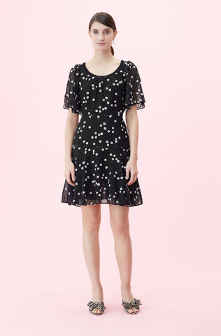 Alessandra Embroidered Dress in Black Combo