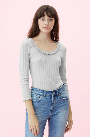 La Vie Variegated Rib Jersey Top in Pale Grey Heather