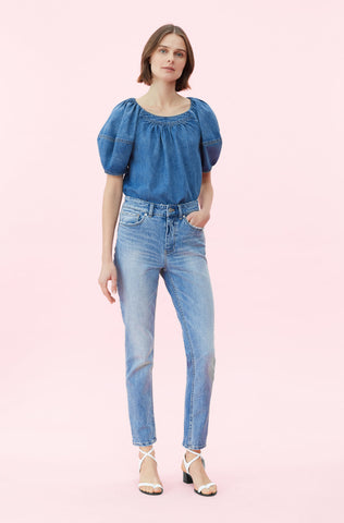 La Vie Drapey Denim Top in Francoise Wash