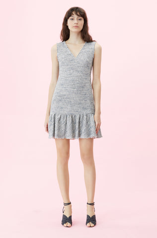 Tweed V-Neck Dress in Blue/Grey Combo