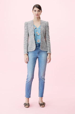 Tweed Peplum Jacket in Blue/Grey Combo