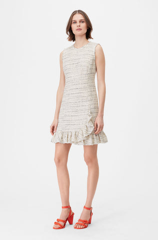 Tailored Textured Tweed Ruffle Dress in Snow Combo