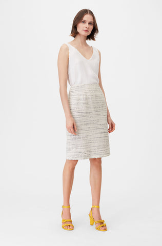 Tailored Textured Tweed Pencil Skirt in Snow Combo